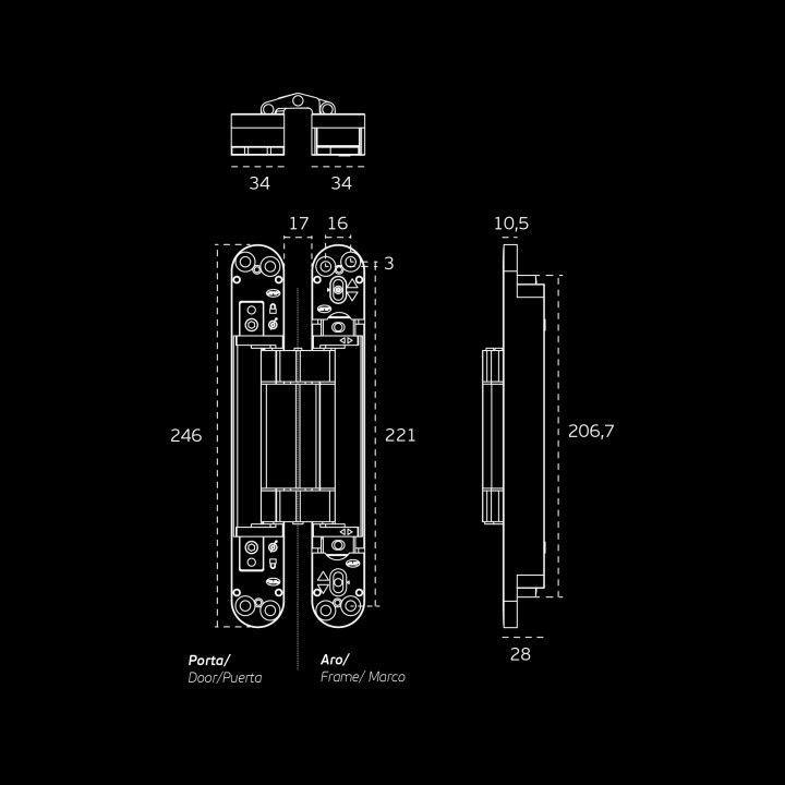 3D Ajustable invisible hinge Coplan 245 Black Edition