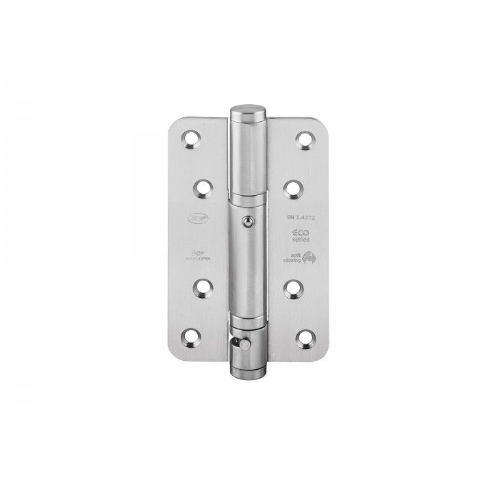 Spring hinge with two ballbearings, softclosing and 90º hold open