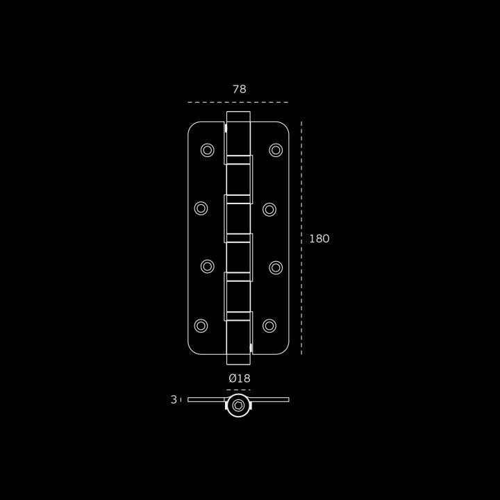 Bisagra con muelle Con 5 rodamientos - 72 x 180 x 3mm