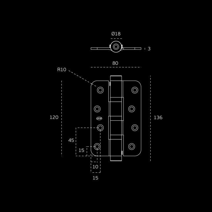 Bisagra con muelle Con 3 rodamientos - 78 x 120 x 3mm
