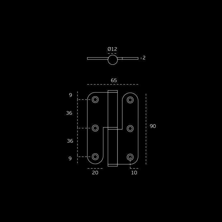 Lift off hinge - Eco series - 65 x 90 x 2mm - RIGHT