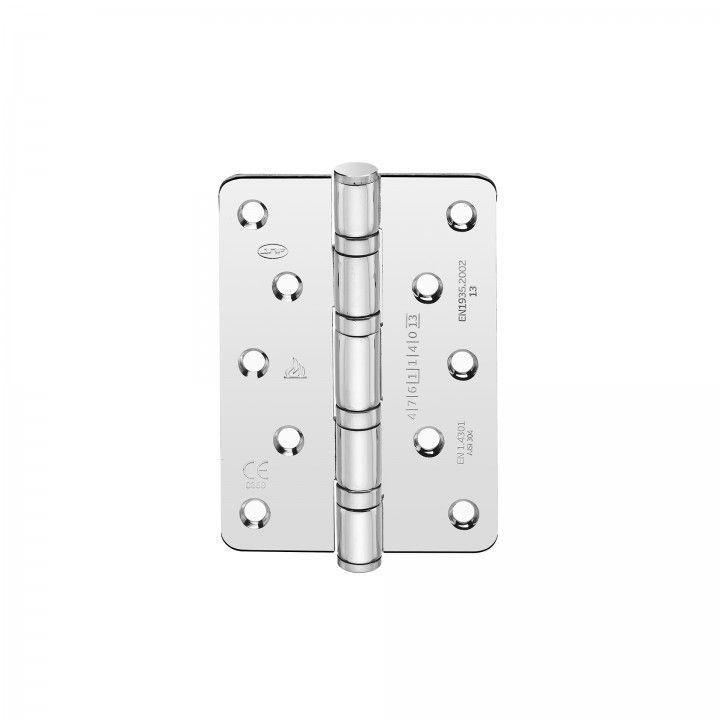 Safety hinge with four ball bearings - Polished - 90 x 125 x 3mm
