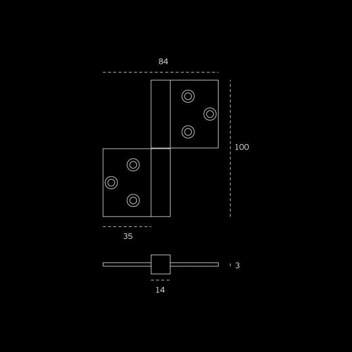 Bisagra de sobreponer reversible con rodamientos - 84 x 100 x 3mm