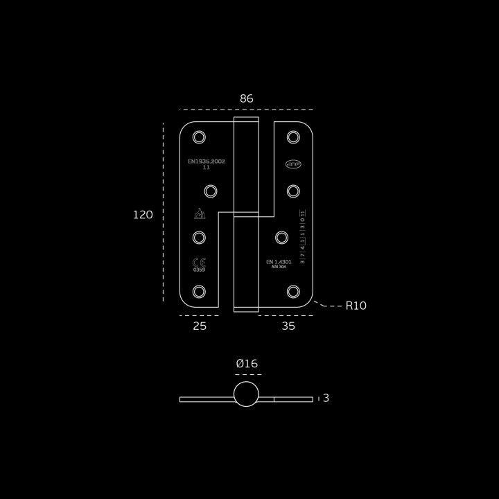 Lift off hinge - Fire proof - 86 x 120 x 3mm - RIGHT