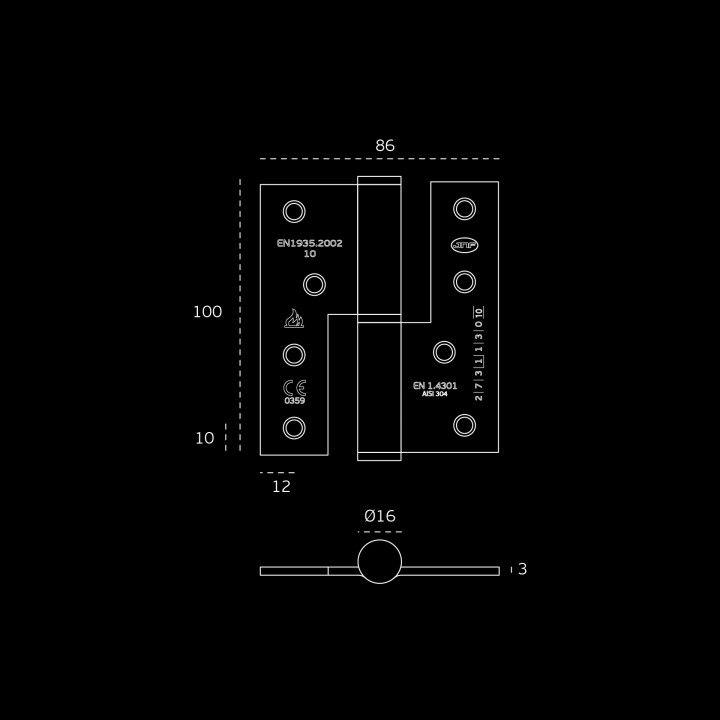 Dobradiça de balanço - Corta fogo - Polida - 86 x 100 x 3mm