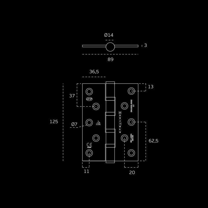 Bisagra de seguridad con cuatro rodamientos - Pulida - 90 x 125 x 3mm