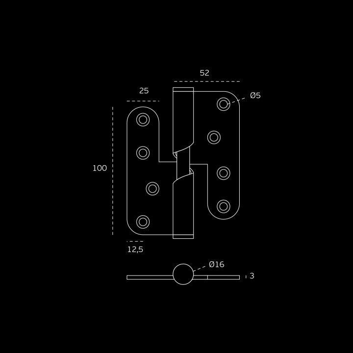 Dobradiça de balanço - 88 x 100 x 3mm - ESQUERDA