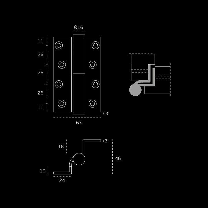 Dobradiça - 63 x 100 x 3mm
