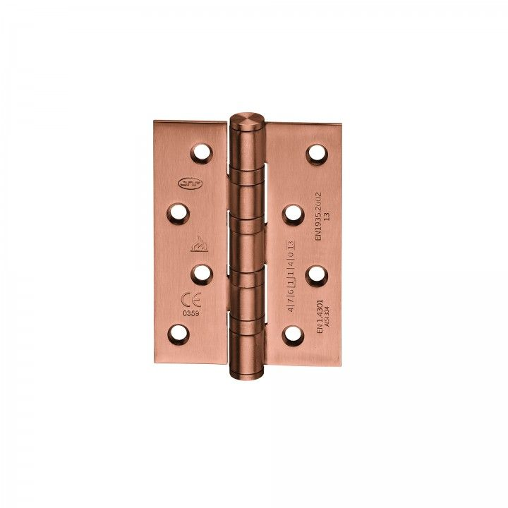 "Hinge with four ball bearings - Fire proof, cover  ""Copper Coated""  75 x 100 x 3mm"