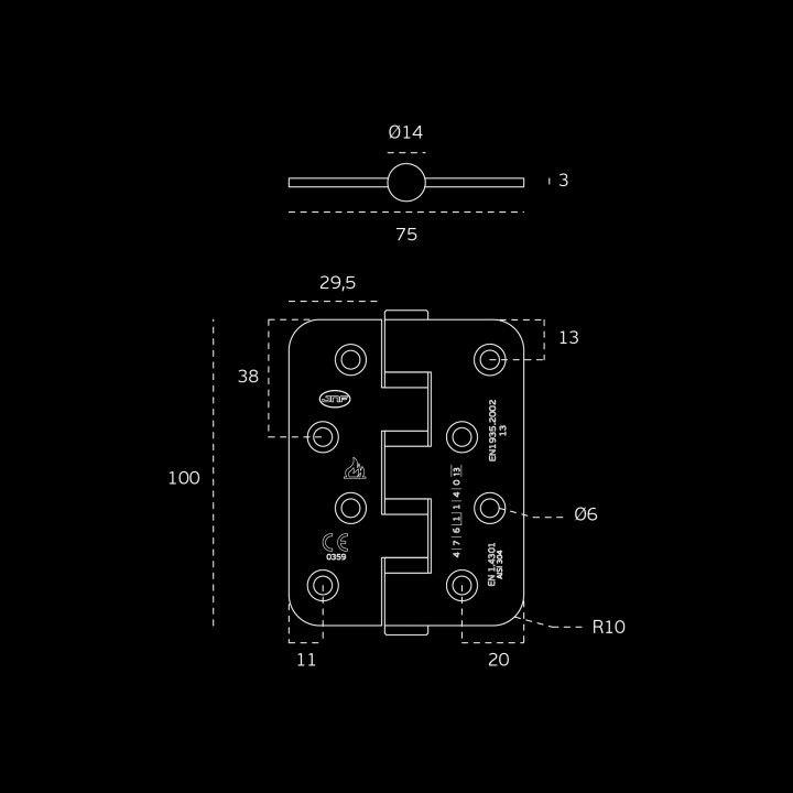 Bisagra con cuatro rodamientos - Ignifuego - 75 x 100 x 3mm