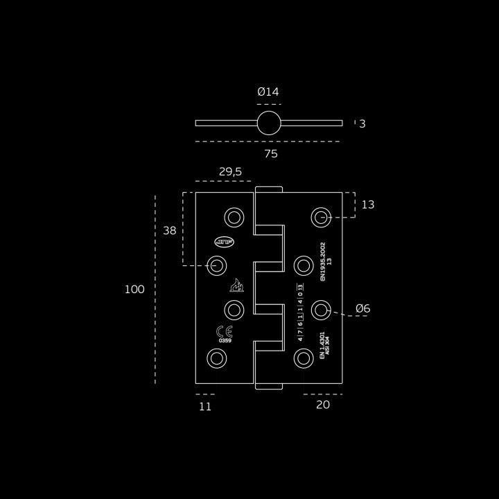 Dobradiça de eixo amovível, com 4 rolamentos de esferas Corta fogo - 75 x 100 x 3mm