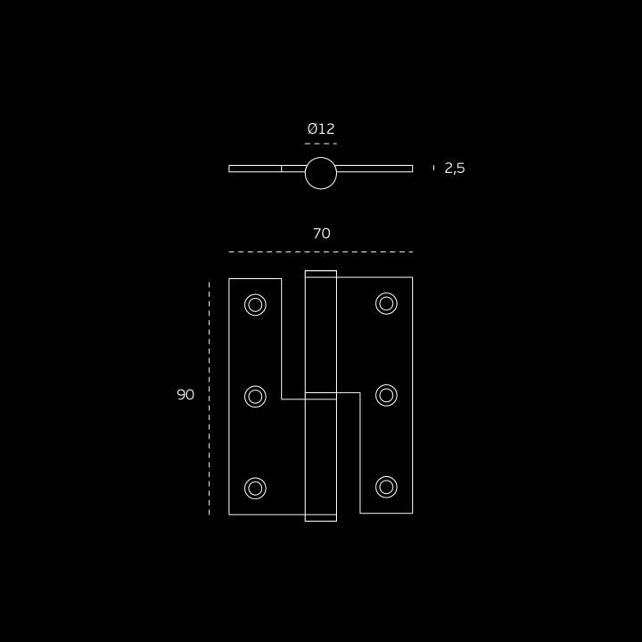 """Dobradiça de meio balanço - Eco series - 70 x 90 x 2,5mm """"Black Coated"""""""