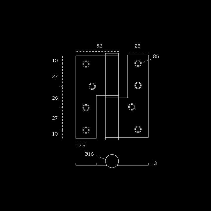 Lift off hinge - Eco series - 86 x 100 x 3mm