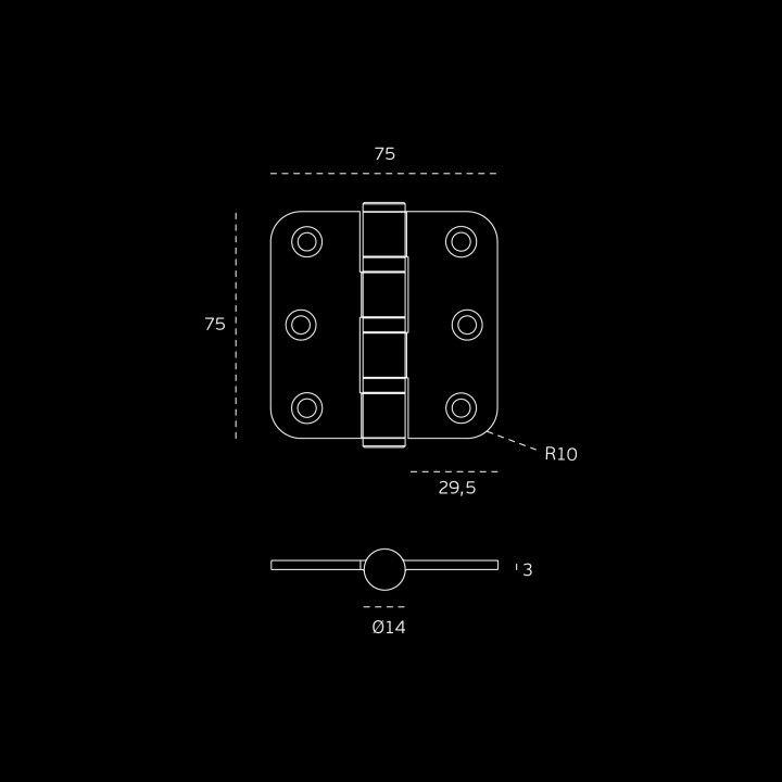 Hinge with round corners - Eco series - 75 x 75 x 3mm