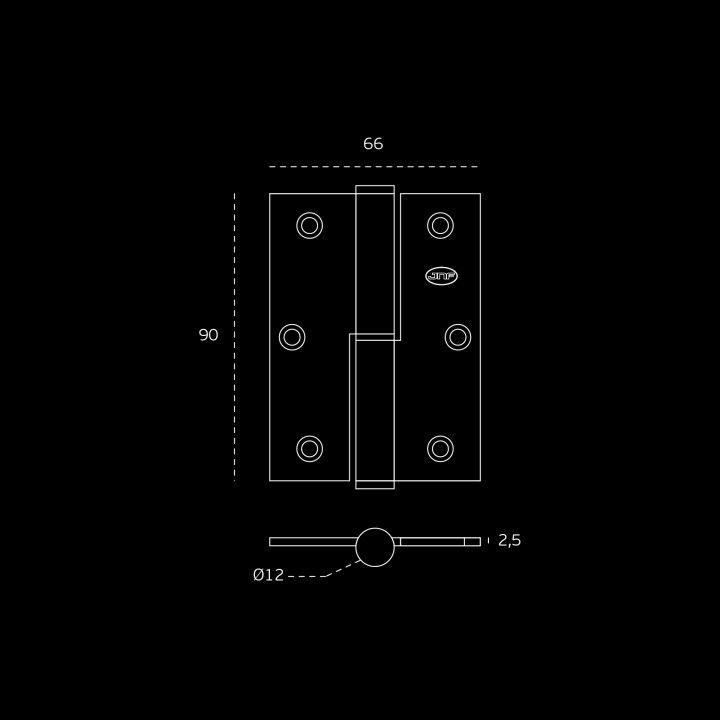 Dobradiça de leme - 65 x 90 x 2,5mm