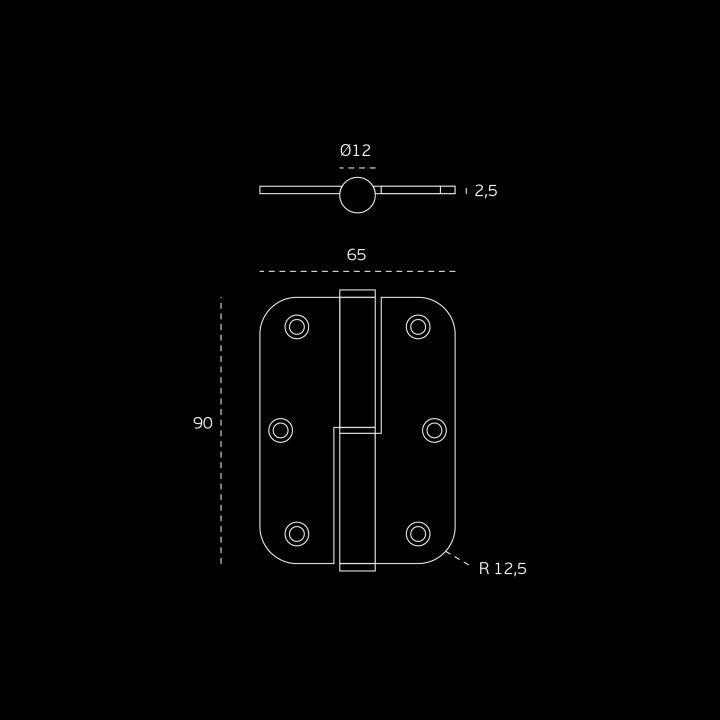 Dobradiça de leme com cantos redondos - 65 x 90 x 2,5mm