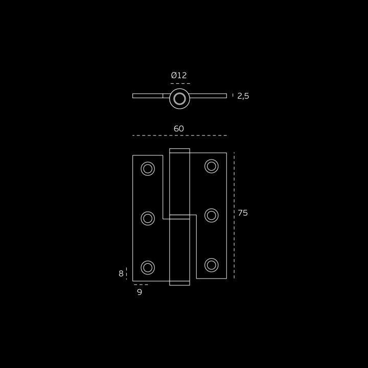 """Dobradiça de meio balanço - Eco series - 60 x 75 x 2,5mm """"Black Coated"""""""