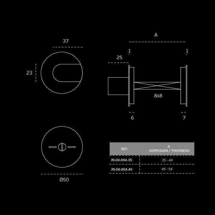 """Fecho de casa de banho """"Less is more"""" com indicador de cor - 35-44mm"""