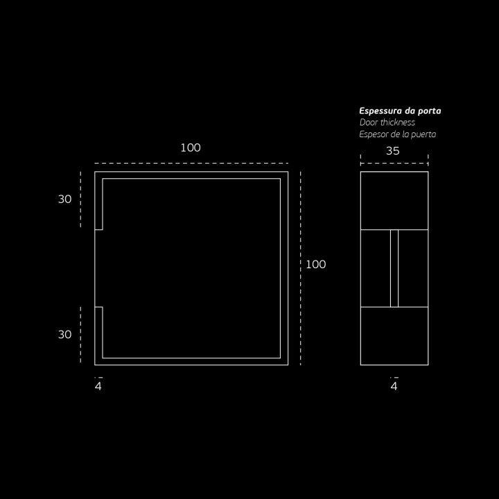 Square Flush handle - Titanium Black