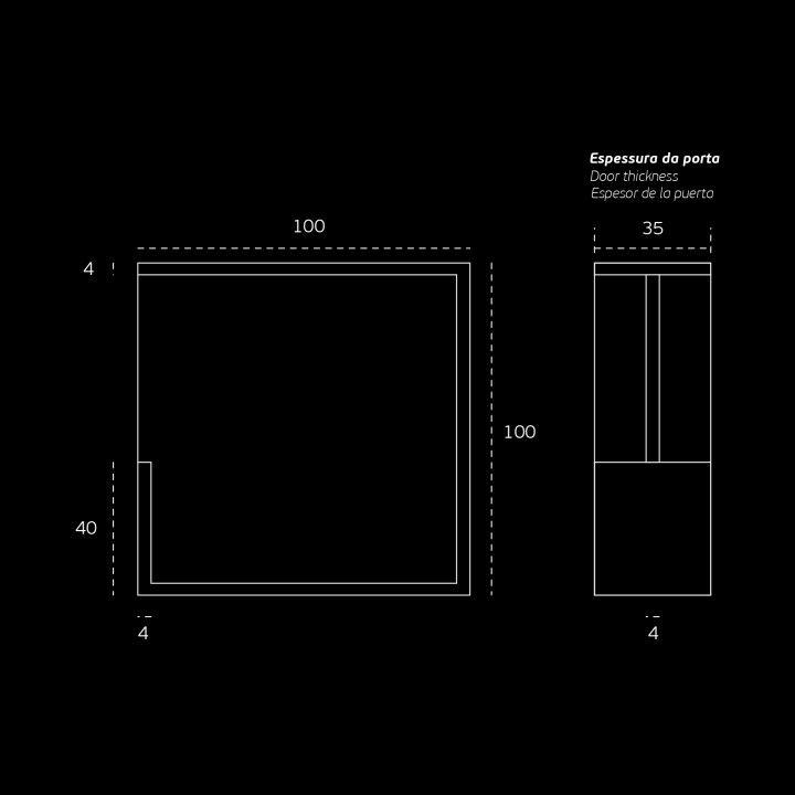Square Flush handle - 100x100 - Titanium Black