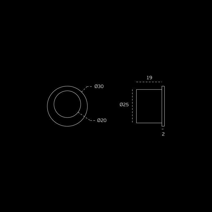 Round Flush handle - Ø30mm - ECO