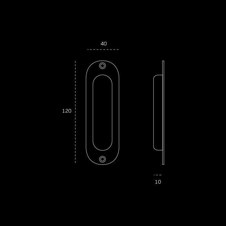 Oval Flush handle - 120 x 40mm