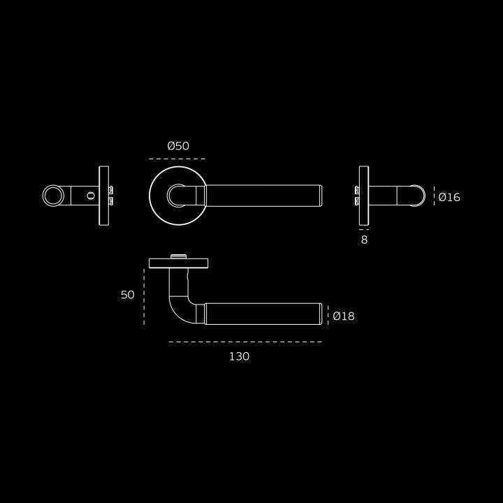 Lever handle Timeless - Ø16mm - Titanium Gold