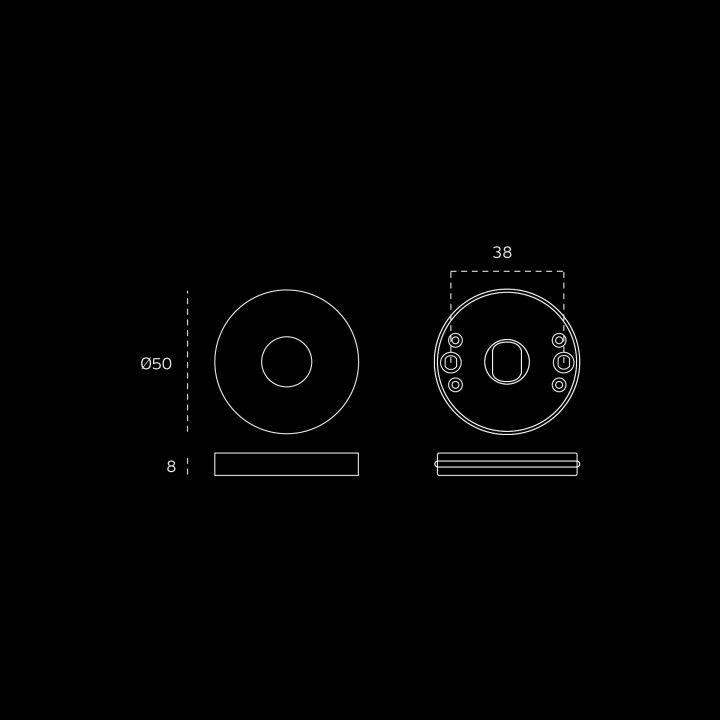 """Puxador de porta """"Timeless"""" - Ø16mm, com roseta metálica RC08M"""