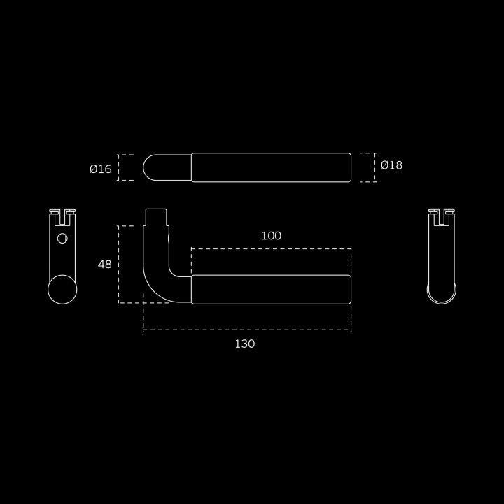 Manilla de puerta Timeless - Ø16mm - Titanium Copper