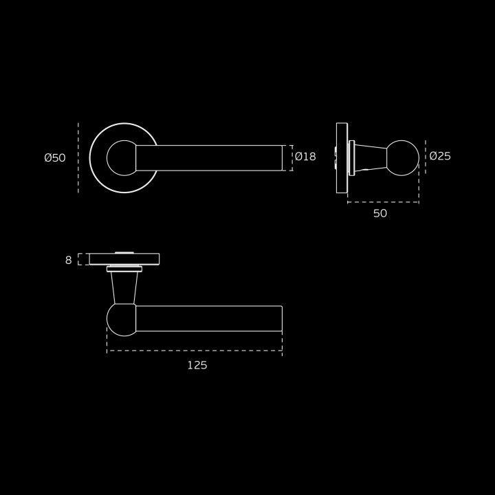 Puxador de porta com roseta metálica RC08M - Titanium Black