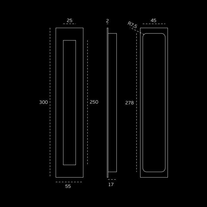 Rectangular Flush handle - 300x55mm - Titanium Gold
