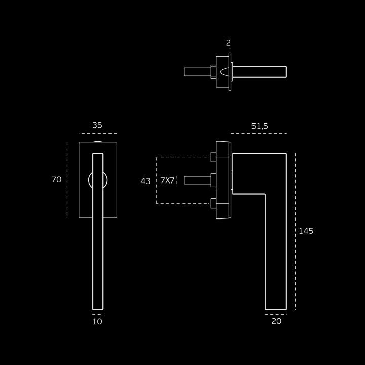 Window mechanism SLIM - TITANIUM CHOCOLATE