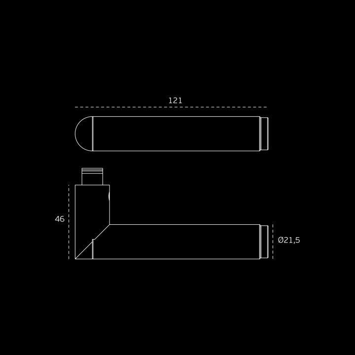 """Puxador de porta """"Link Porcelana White"""", com roseta metálica RC08M- Titanium Black"""