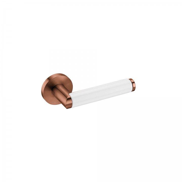 """Puxador de porta """"Link Porcelana White"""", com roseta metálica RC08M- Titanium Copper"""