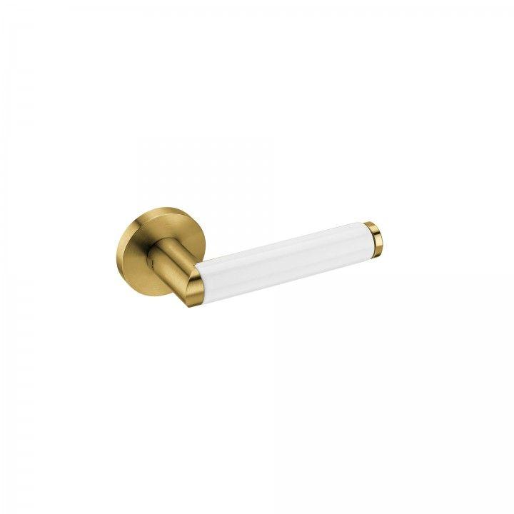 """Puxador de porta """"Link Porcelana White"""", com roseta metálica RC08M- Titanium Gold"""