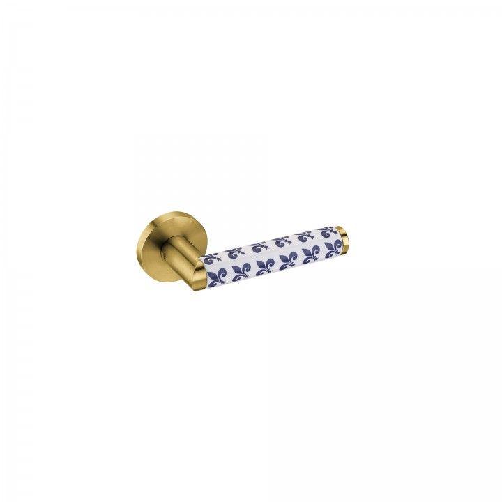 Manilla de puerta Link Porcelana Fleur de Lis - Titanium Gold
