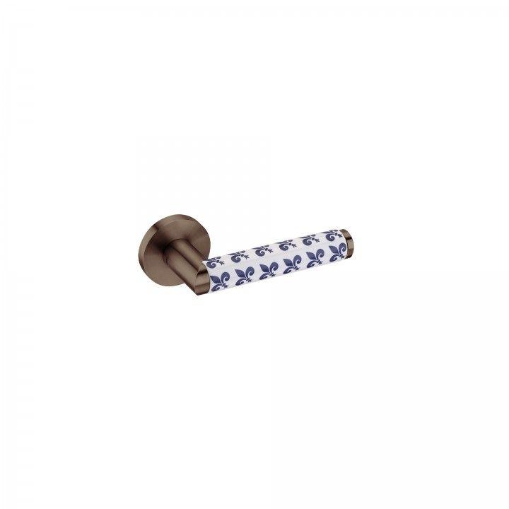 Puxador de porta Link Porcelana Fleur de Lis- Titanium Chocolate