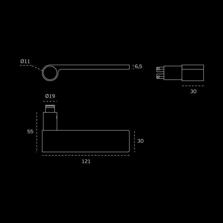 """Puxador de porta """"Outline Light Gray"""" - Titanium Black"""