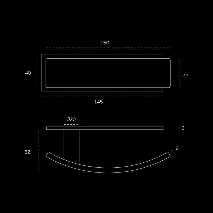 Lever handle Arch, with plate - Titanium Black