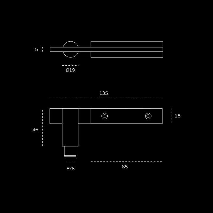 Puxador de porta, Areado, com roseta metálica RC08M