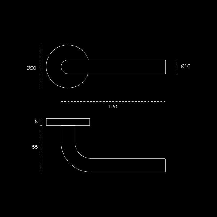Lever handle - Ø16mm - Titanium Black