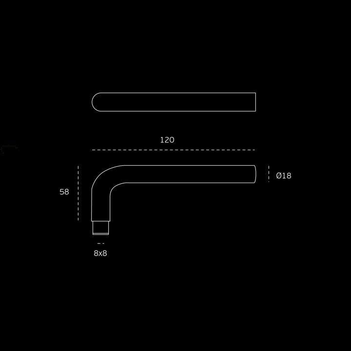 Solid lever handle Ø18mm - Titanium Copper