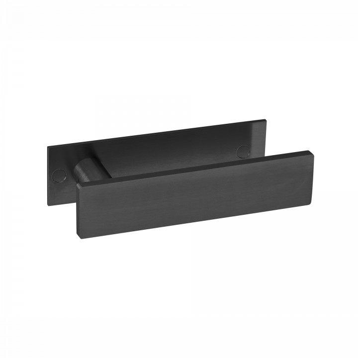 """Puxador de porta """"Leaf"""", com placa TITANIUM BLACK"""