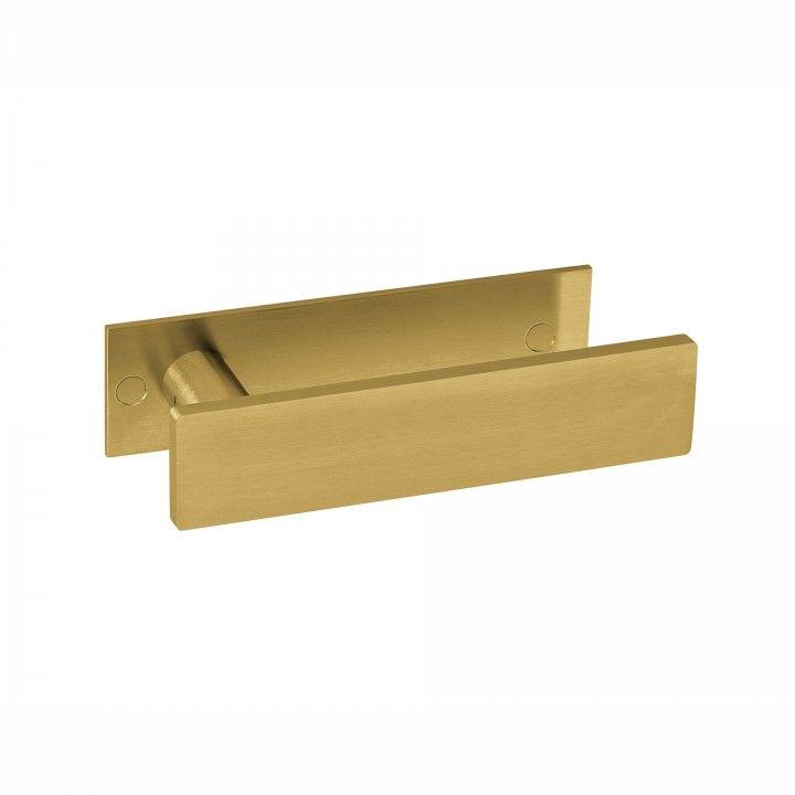 Manilla de puerta Leaf, con placa TITANIUM GOLD