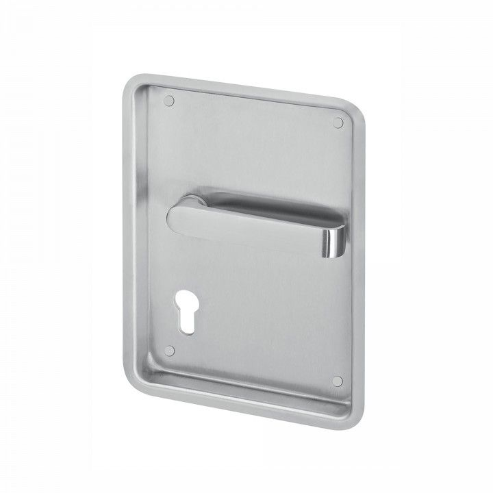 Flush plate for european cylinder with lever handle and without spring -  240 x 170mm
