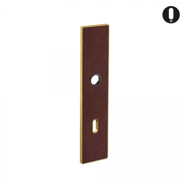 Placa ART PLATE - Cuero natural marrón+ Titanium Gold