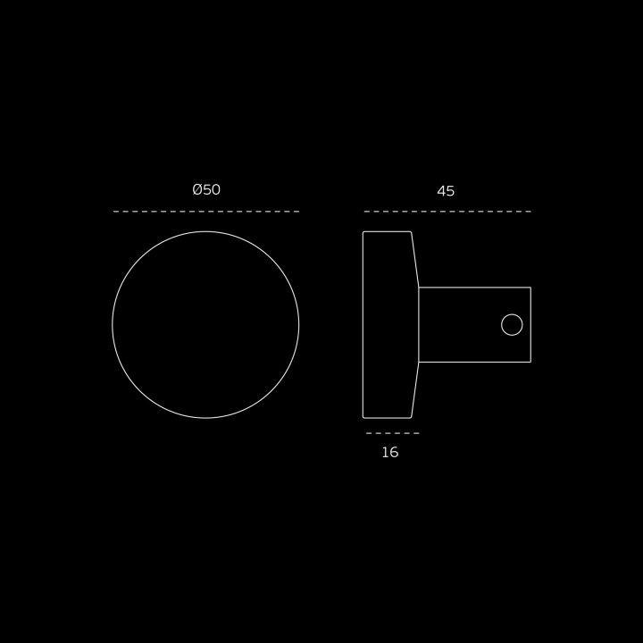 Fixed knob for glass doors - Ø50mm - Titanium Black