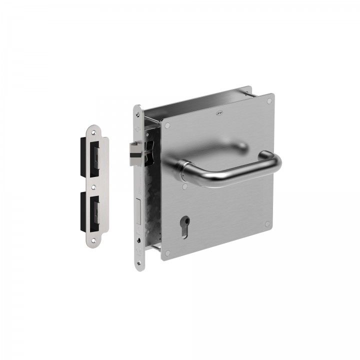 Set with plate, lever handle and lock
