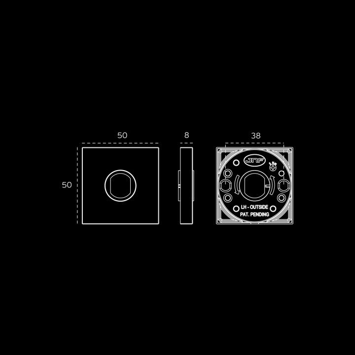 """Puxador de porta """"Duo Small"""", com roseta quadrada metálica QC08M - Polido"""