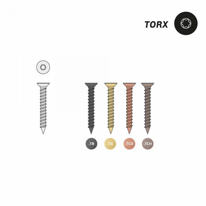 Screws double CSK head, countersunk head 90º,  standard point. - Titanium Gold